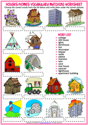 Types of Houses ESL Matching Exercise Worksheet For Kids