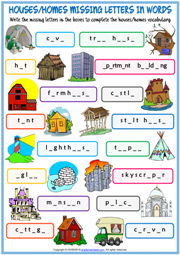 Types of Houses Missing Letters In Words Exercise Worksheet