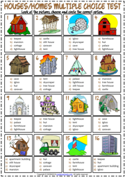Types of Houses ESL Printable Multiple Choice Test For Kids