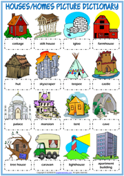 Types of Houses ESL Picture Dictionary Worksheet For Kids