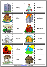 Types of Houses ESL Printable Dominoes Game For Kids
