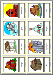 Types of Houses ESL Printable Vocabulary Learning Cards