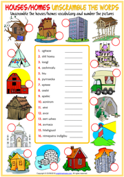 Types of Houses ESL Unscramble the Words Worksheet