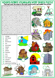 Types of Houses ESL Printable Word Search Puzzle Worksheet