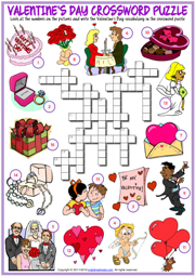 Valentine's Day ESL Crossword Puzzle Worksheet for Kids