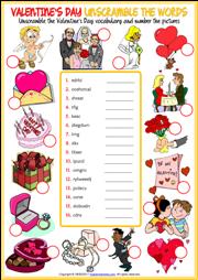 Valentine's Day ESL Printable Vocabulary Worksheets