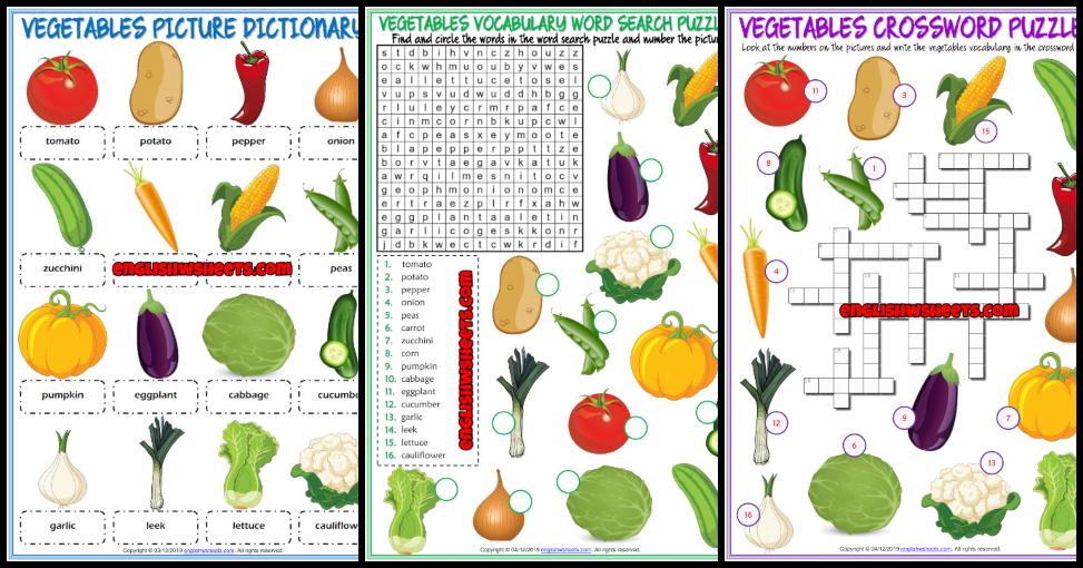 Vegetables ESL Vocabulary Worksheets