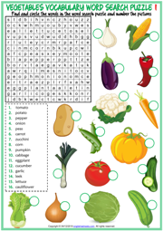 Vegetables ESL Word Search Puzzle Worksheets For Kids