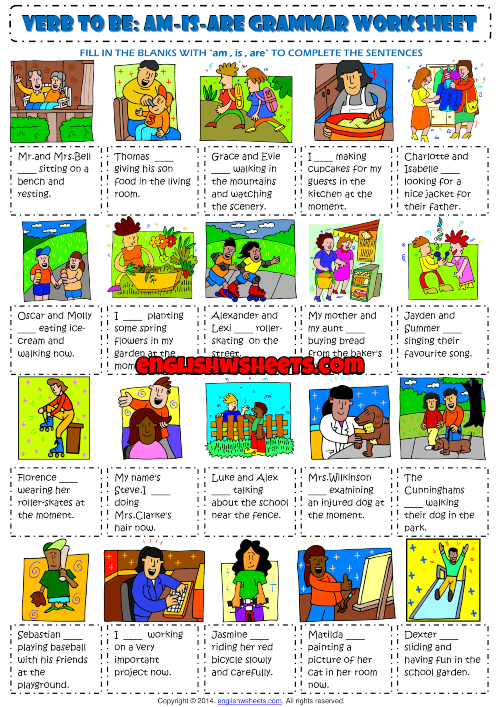 Verb To Be : Am Is Are ESL Exercises Worksheet For Kids