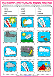 Weather Conditions ESL Matching Exercise Worksheet For Kids