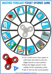 Weather Conditions ESL Printable Fidget Spinner Game