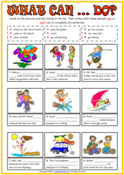 Ability and Inability ESL Printable Worksheets and Exercises