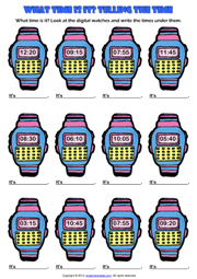Asking and telling time esl printable worksheets and exercises telling the time digital watch esl exercise worksheet ibookread ePUb