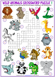 Wild Animals Crossword Puzzle ESL Printable Worksheets