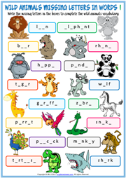 Wild Animals Missing Letters In Words ESL Exercise Handouts