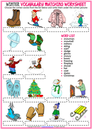Winter ESL Vocabulary Matching Exercise Worksheet For Kids